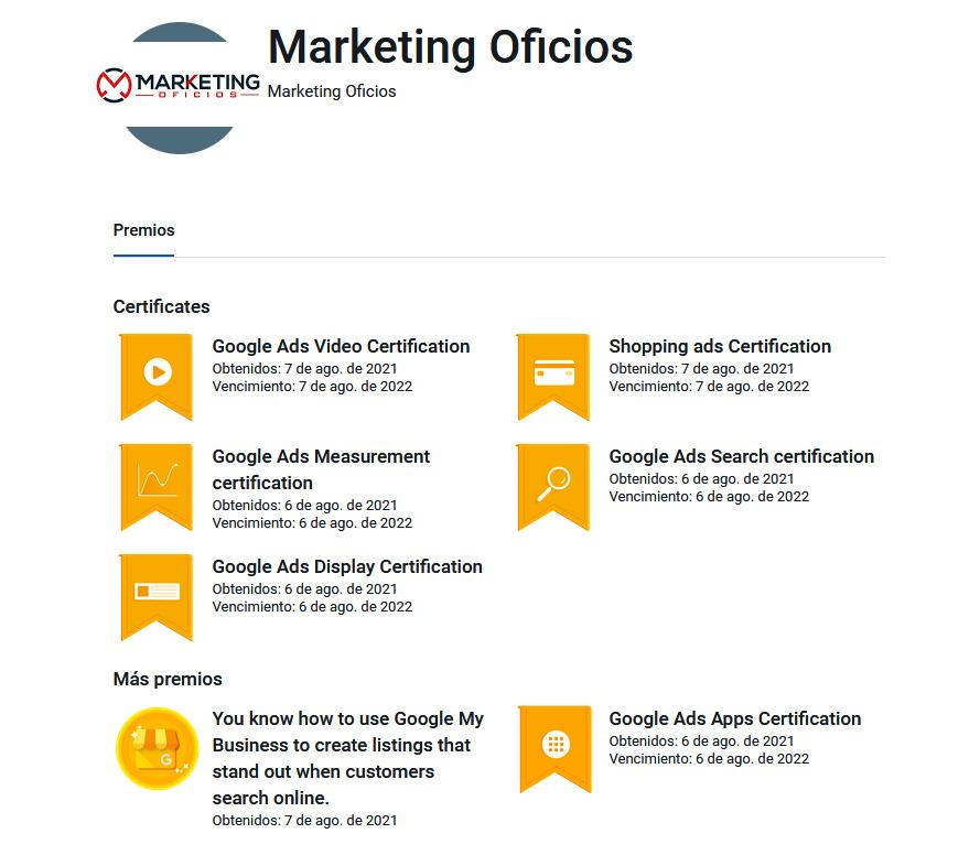 Certificaciones Google Marketing Oficios